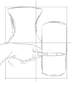 Close one eye, extend your arm, and measure with your thumb and pencil.
