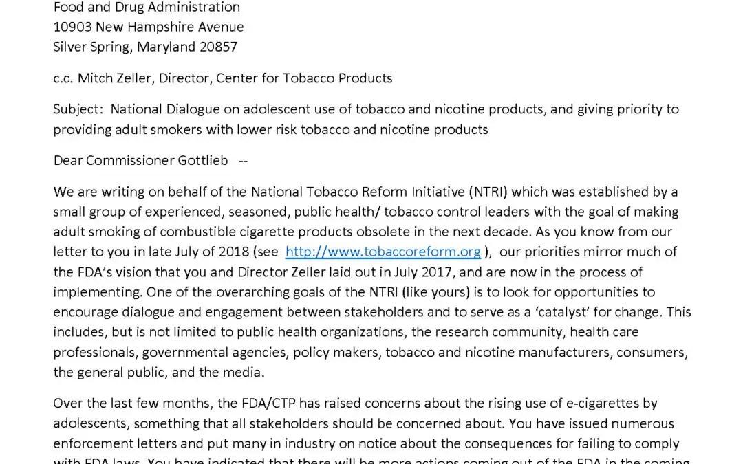 Letter to Scott Gottlieb, MD Commissioner Food and Drug