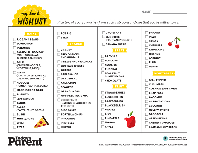 School lunch planner printable - Today\u0027s Parent - how to plan weekly meals for two