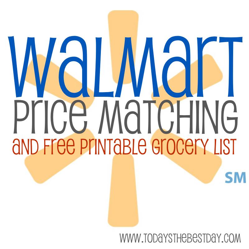 Walmart Price Matching  Free Printable Grocery List - Today\u0027s the