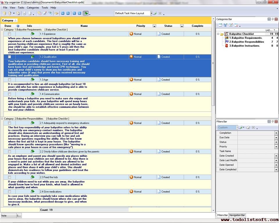 Babysitter Checklist - To Do List, Organizer, Checklist, PIM, Time