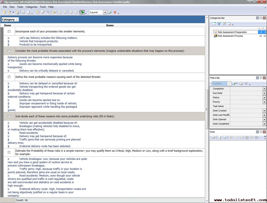 risk assessment checklist template - sample training checklist template