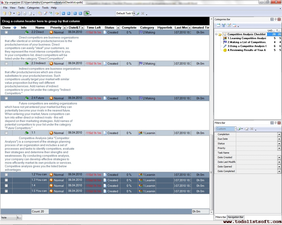 Competitive Analysis Checklist - To Do List, Organizer, Checklist