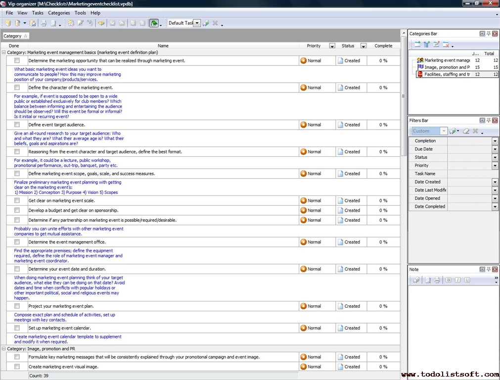 Marketing event checklist - To Do List, Organizer, Checklist, PIM - visual to do list
