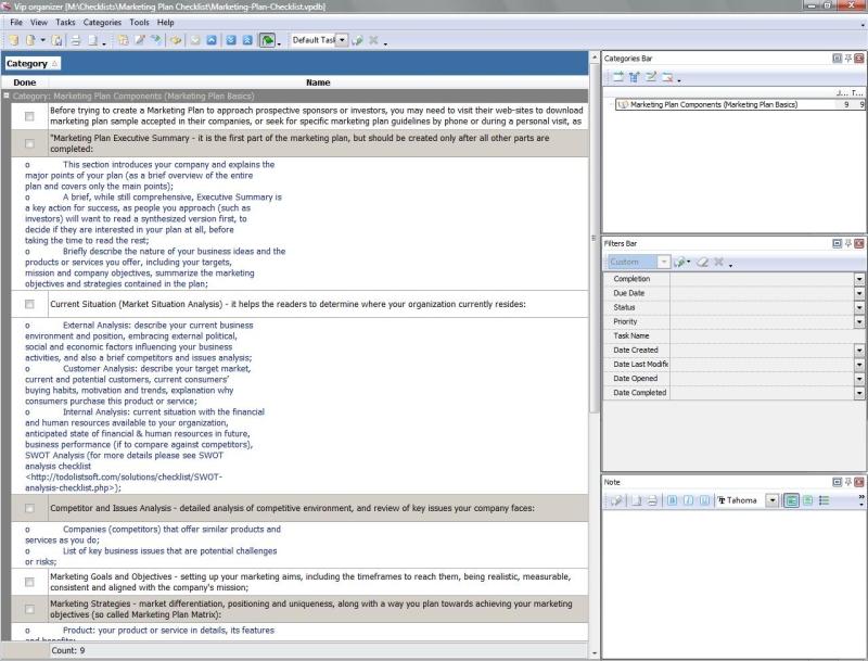 Marketing Checklists - To Do List, Organizer, Checklist, PIM, Time