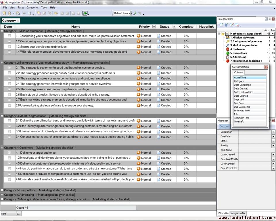 Marketing strategy Checklist - To Do List, Organizer, Checklist - creating checklist