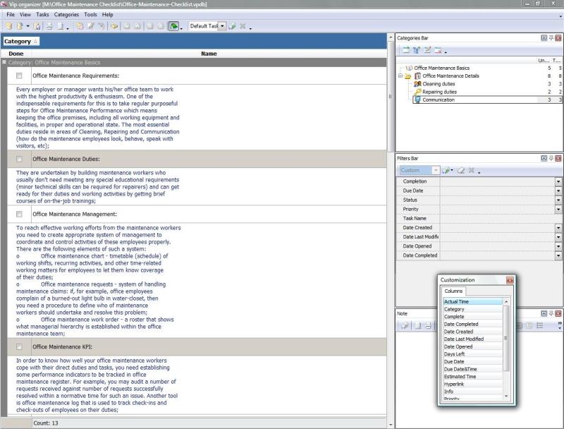 Office Maintenance Checklist - To Do List, Organizer, Checklist, PIM