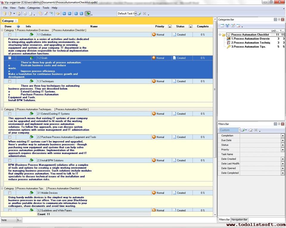 Process Automation Checklist - To Do List, Organizer, Checklist, PIM