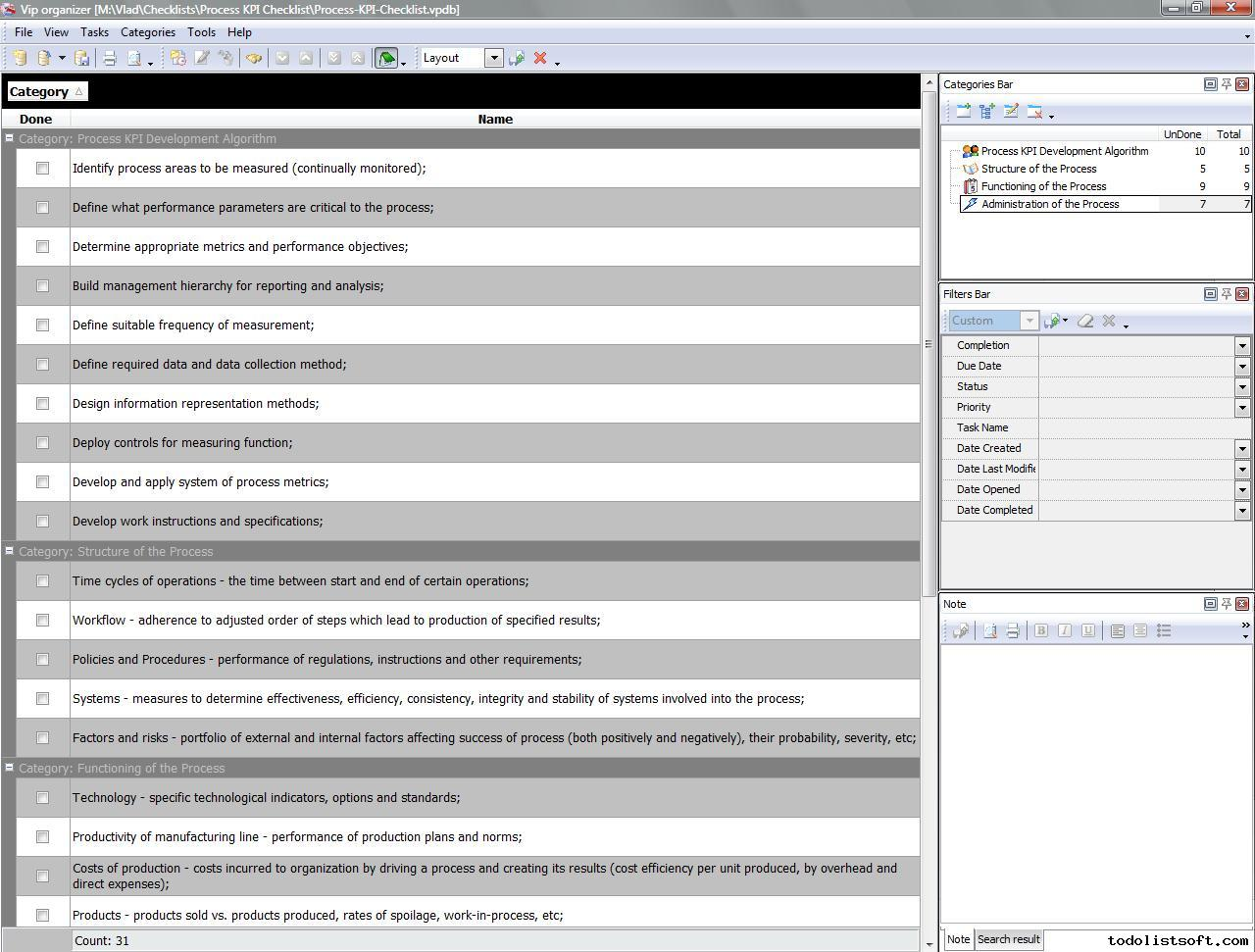 Checklist Personnel File Template Sample Form Process Management Templates