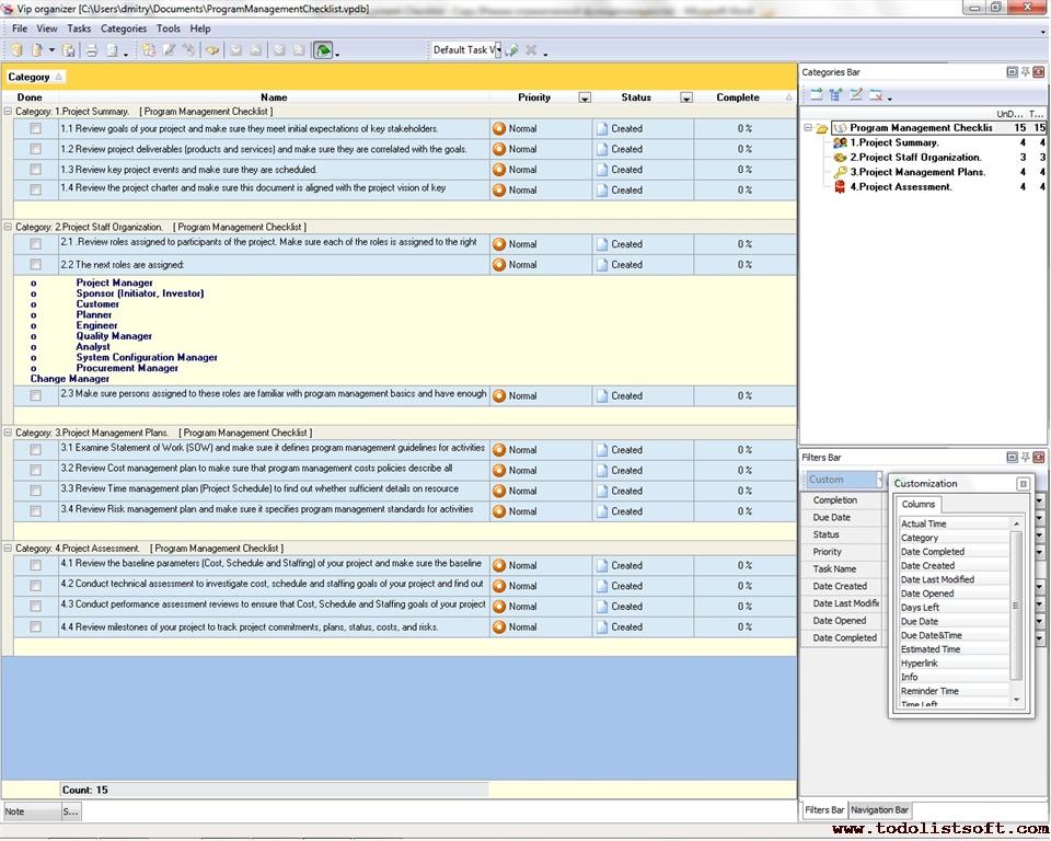 Program Management Checklist - To Do List, Organizer, Checklist, PIM