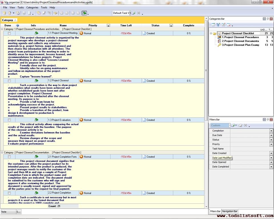 Project Closeout Checklist - To Do List, Organizer, Checklist, PIM