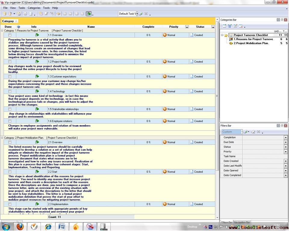 Project Turnover Checklist - To Do List, Organizer, Checklist, PIM