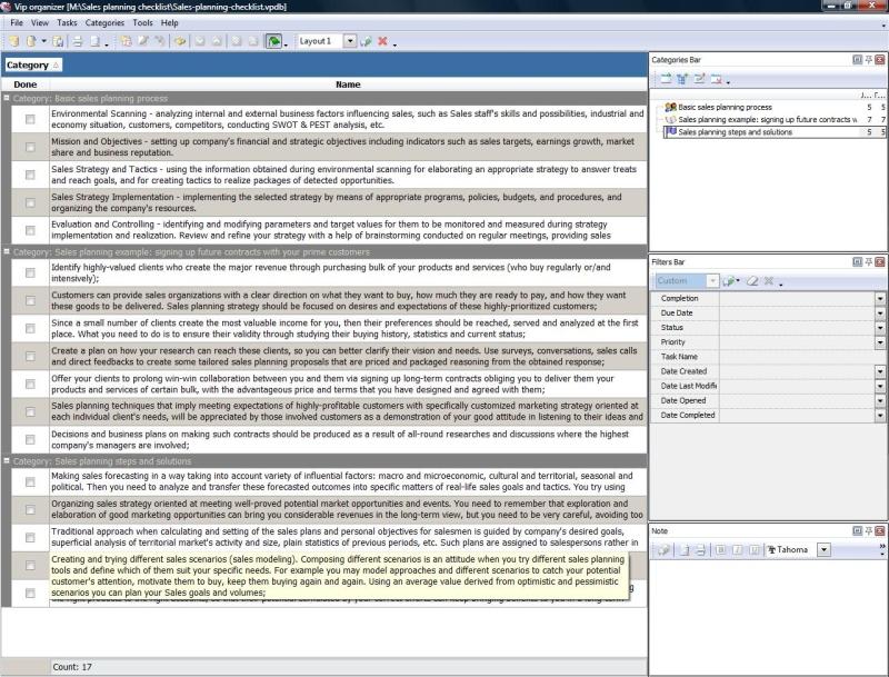 Sales planning checklist - To Do List, Organizer, Checklist, PIM - Sales Plan Format