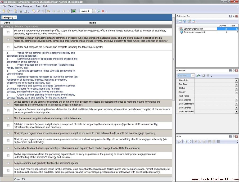 Seminar Planning checklist - To Do List, Organizer, Checklist, PIM - seminar planning template
