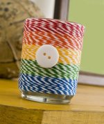 Como decorar frascos con hilos