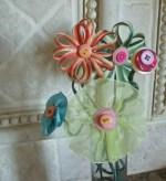 Como hacer un bouquet de flores hechas con cintas