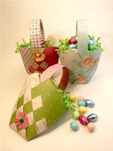 Como hacer una Mini canasta de pascuas con cartulina