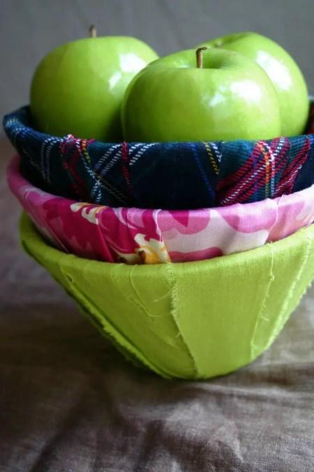 originales fruteras para reciclar tela