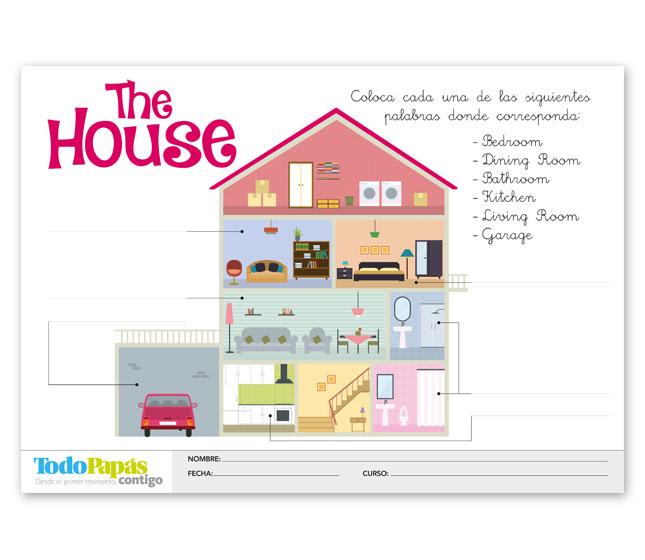 Ficha sobre vocabulario de las partes de la casa en inglés - TodoPapás