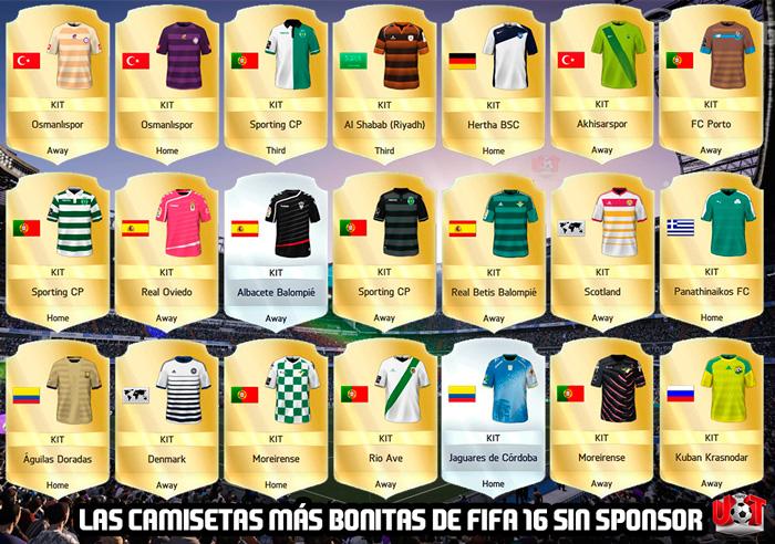 Las camisetas más bonitas de FIFA 16