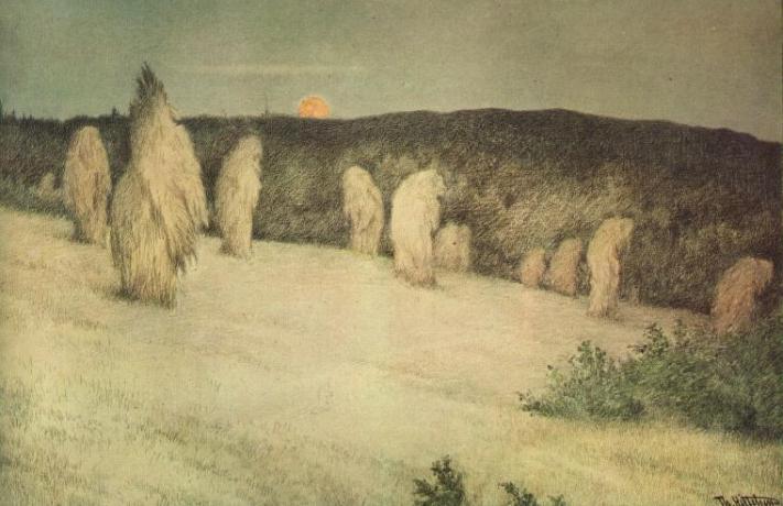 Theodor_Kittelsen_-_Kornstaur_i_måneskinn_ca_1900_Stooks_of_Corn_in_Moonlight