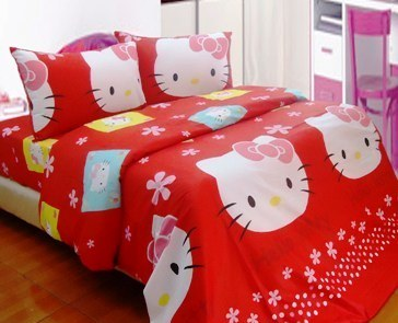 Seprei Dan Badcover Hello Kitty Stamp Merah