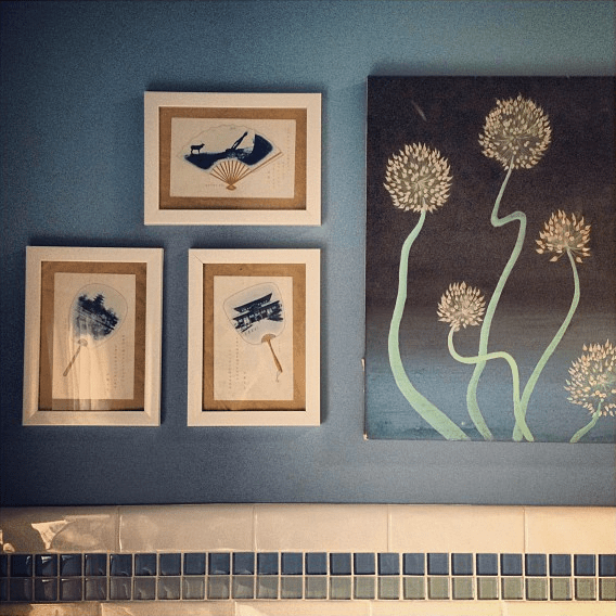 beach house blue bathroom art wall