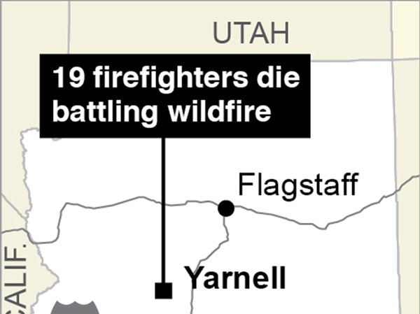 Dark day\u0027 Flags lowered for 19 dead firefighters in Arizona