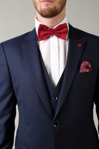 Navy Suit Red Bow Tie