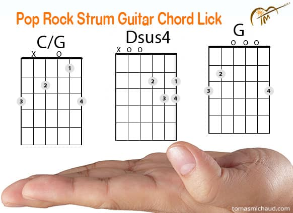 Cool Pop Rock \u201cEagles\u201d Acoustic Guitar Chord Lick Using G  C/G
