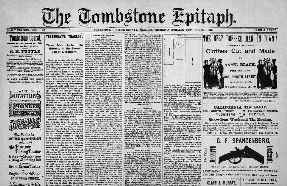 The Tombstone Epitaph Newspaper and Museum (Tombstone AZ) Home