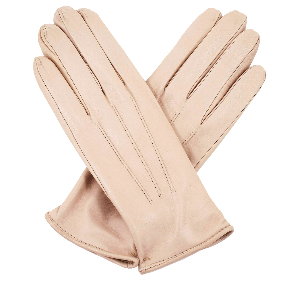 Womens beige leather gloves cashmere lining