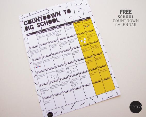 Free Countdown to School Calendar TOMFO