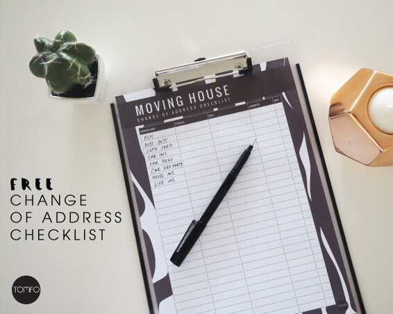 Free Moving House Change of Address checklist printable TOMFO - free change of address