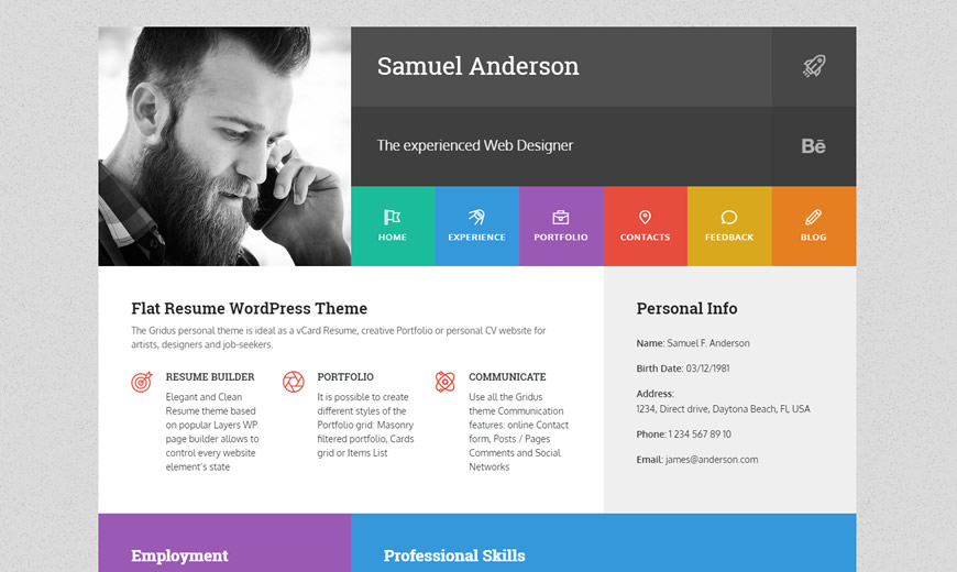 10+ Sleek CV  Résumé WordPress Themes for August 2017 - TommusRhodus - resume wordpress theme