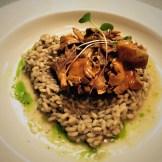 Mushroom risotto chive oil