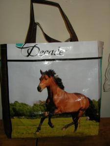 Recycled Horse/Cat/Dog/ etc Totes, Cloth Purses, Helmet/Boot Bags, Messenger Bags, Change/Make up Bags, Saddle Towels, Race Day Bags, Catnip Sachets, Dog Bones, Stuffed Horses, Golf Accessory Bags, Golf Shoe Bags, and of course blanket repairs...