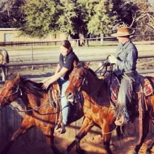 Getting help with the first ride! #tntranch #tnthorses #colttrainer #cowboy4sale #firstride #riding #colt #horsemanship #horsesofinstagram