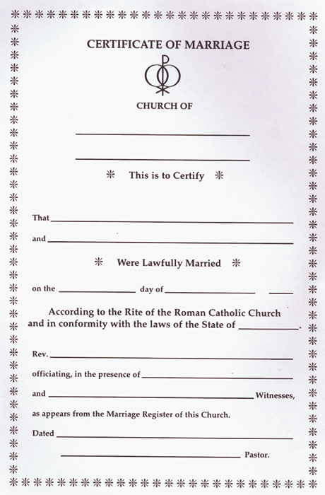 Marriage Certificate Pad 07-1501 Tonini Church Supply - marriage certificate