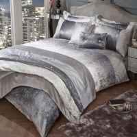 Glitter Crushed Velvet Duvet Cover Bedding Set - Silver ...