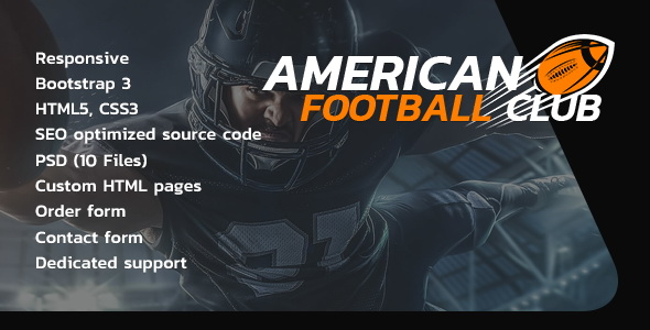 American Football responsive html5 website template - Tonytemplates
