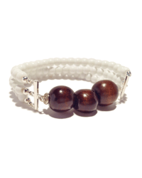 531 Dark Brown Wood Beads on white strands final