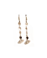 Geo-Crystal Earrings with 3 Pearls