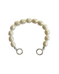 Freshwater pearl bracelet base with toggle clasp and silver final