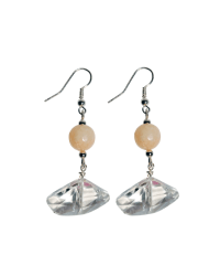 geo-crystal peach earrings