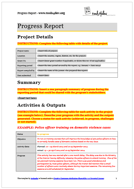 Readyset Pro Use Case Template Test Template And All Progress Report Template Tools4dev