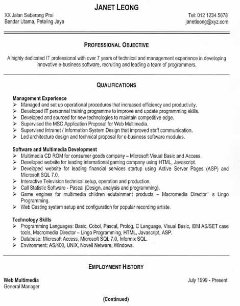 Free resume samples An effective functional resume
