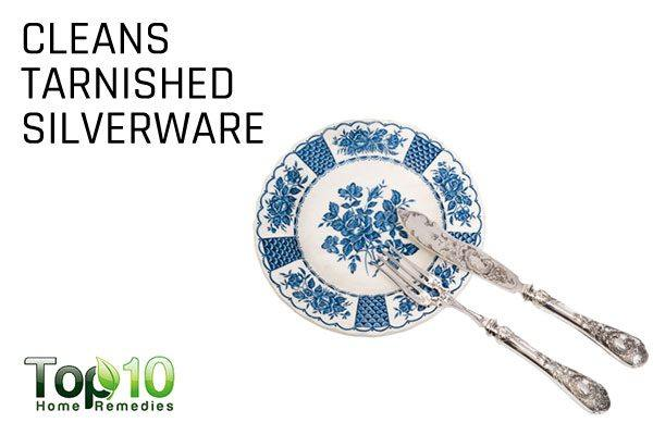 cleans tarnished silverware
