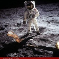 Nasa Astronaut With Alien On Moon