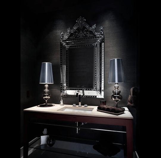 Black Textured Wallpaper 15 Luxury Powder Room Designs
